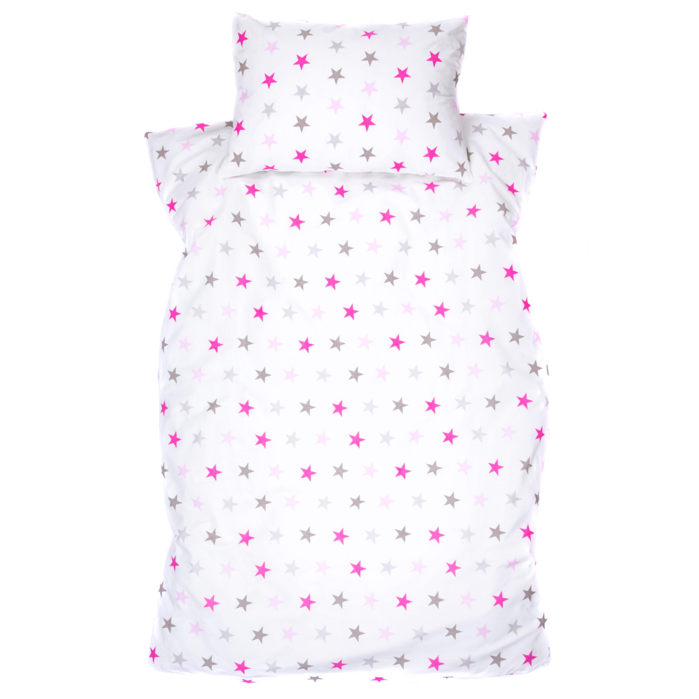 Kinderbettwäsche 2tlg 100 x 135 cm (40 x 60 cm) mit Hotelverschluß Sterchen Groß Rosa