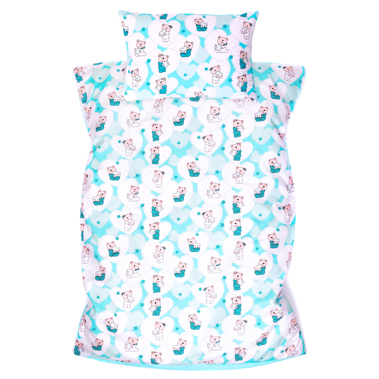 Kinderbettwäsche 2tlg 100 x 135 cm (40 x 60 cm) mit Hotelverschluß Bär mit Herzen Mint Hellmint