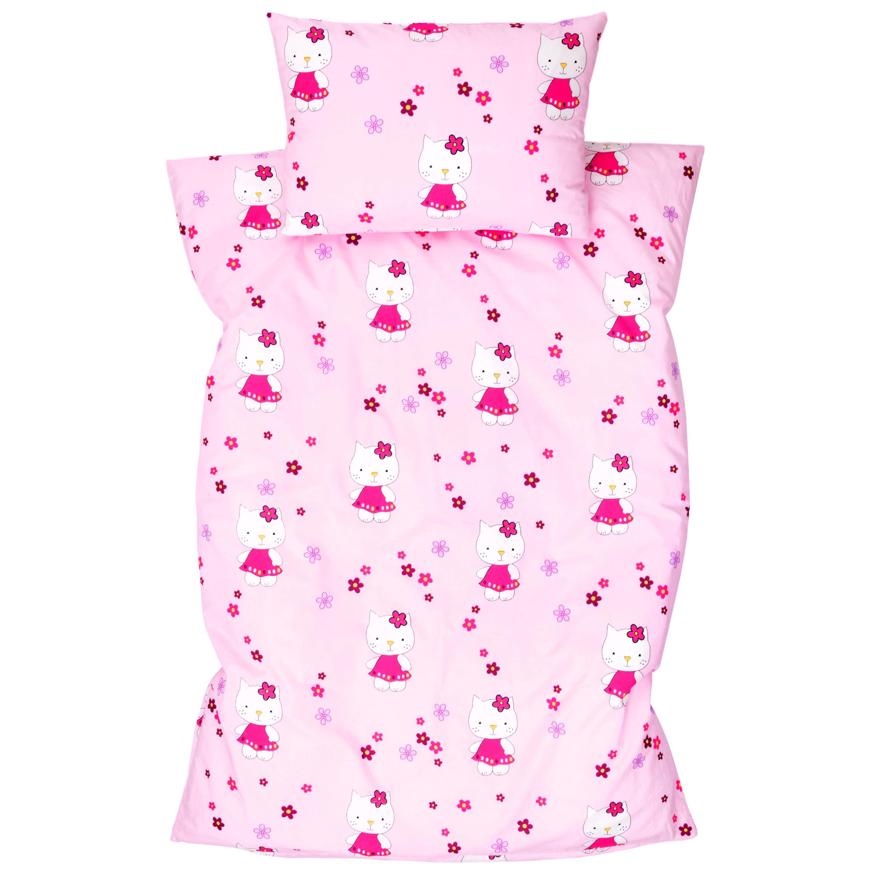 Kinderbettwäsche 2tlg 100 x 135 cm (40 x 60 cm) mit Hotelverschluß Katzen Rosa