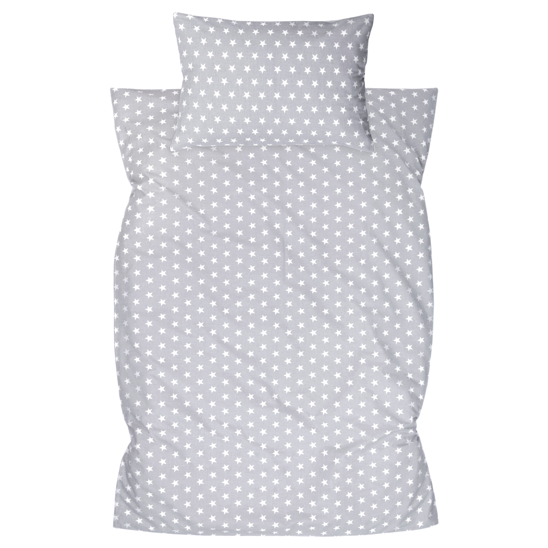 Kinderbettwäsche 2tlg 100 x 135 cm (40 x 60 cm) mit Hotelverschluß Sternchen Grau Streifen Grau