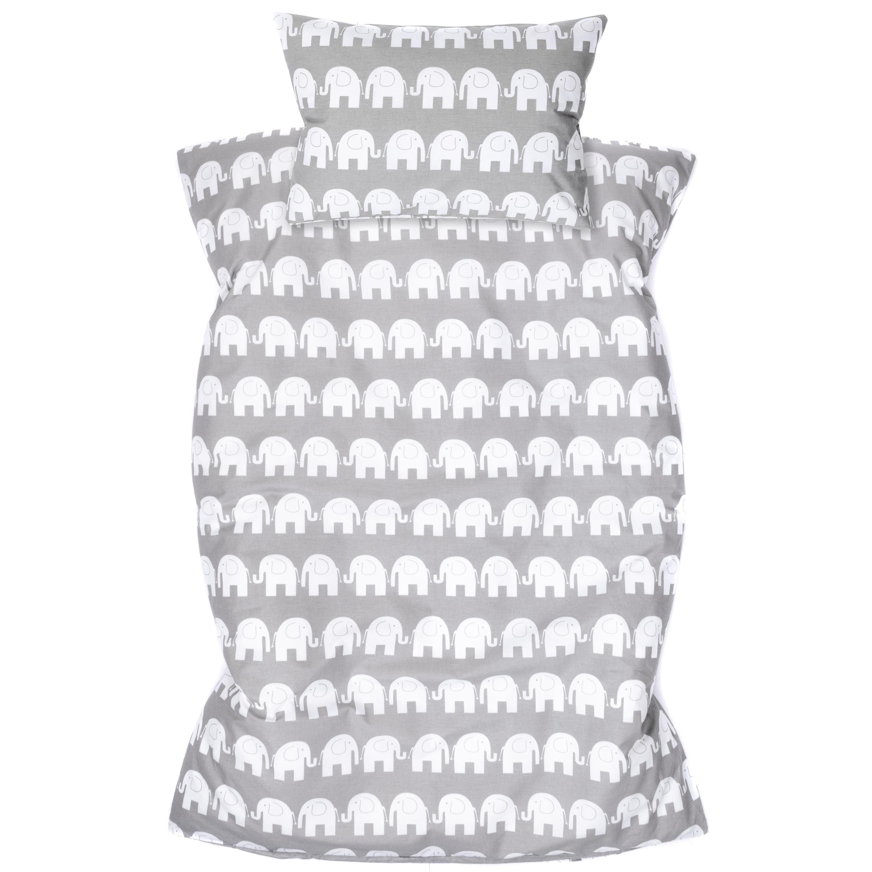 Kinderbettwäsche 2tlg 100 x 135 cm (40 x 60 cm) mit Hotelverschluß Elefant Grau