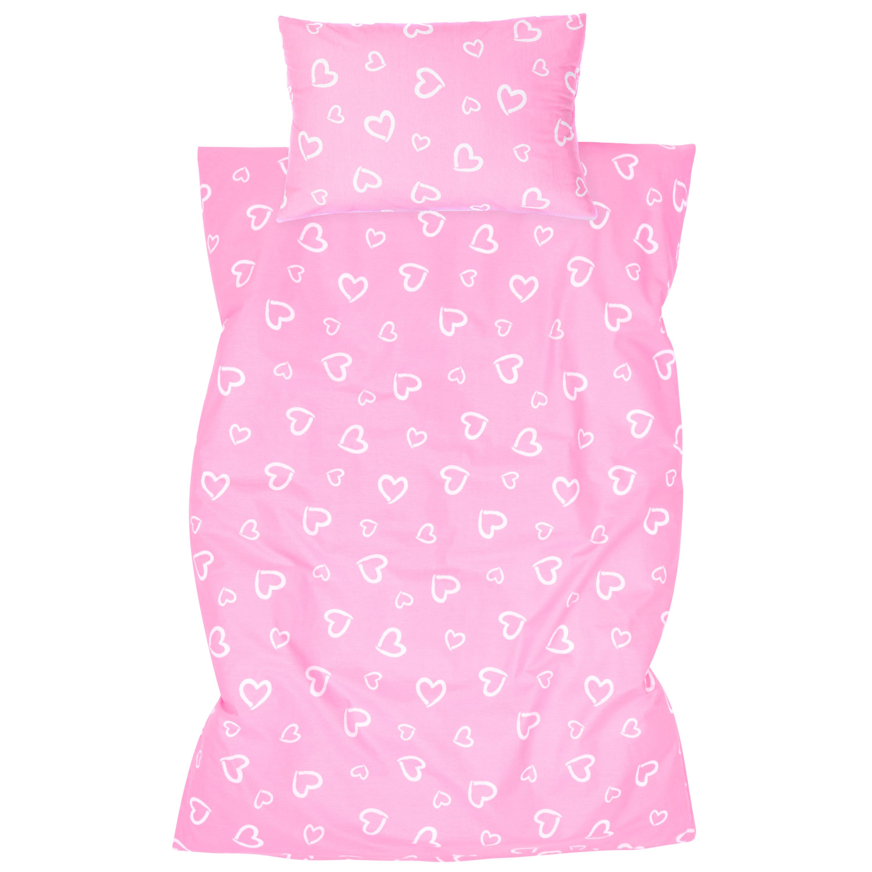 Kinderbettwäsche 2tlg 100 x 135 cm (40 x 60 cm) mit Hotelverschluß Herzen Rosa