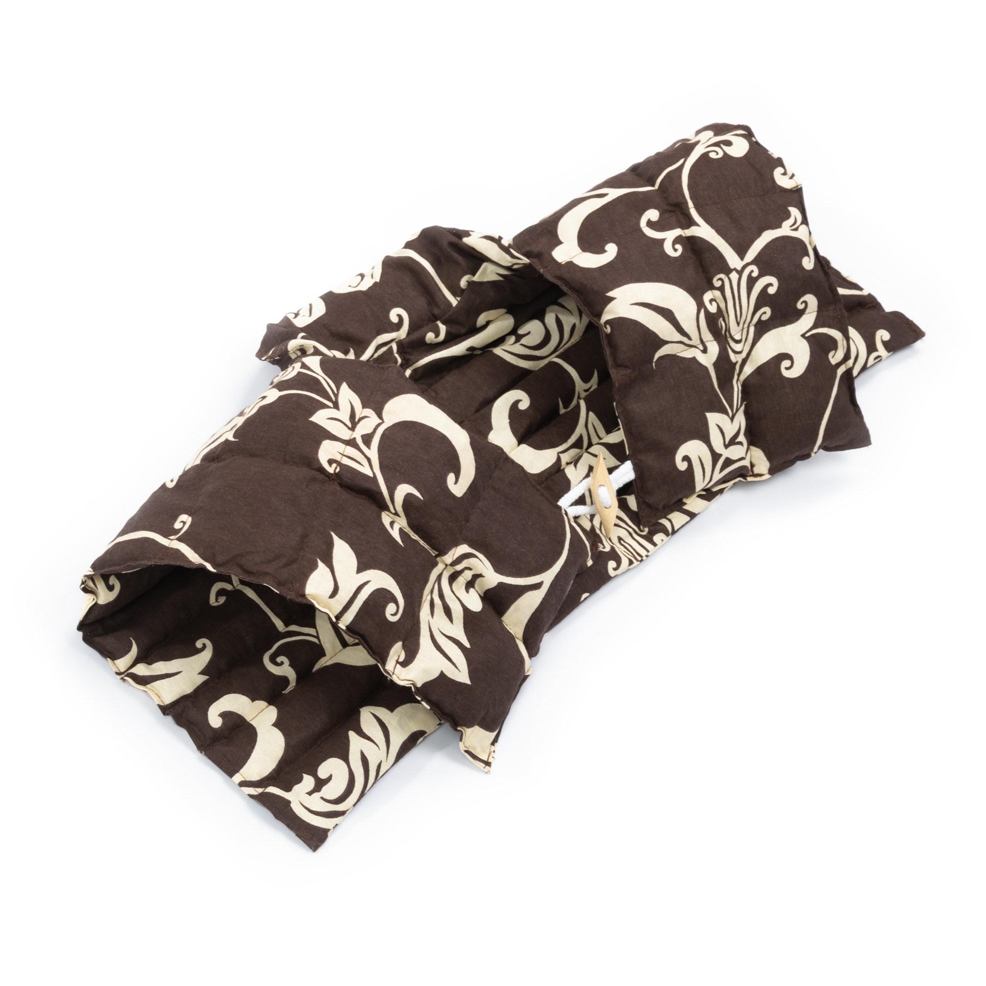 Kirschkernkissen Nackenhörnchen mit Rückenteil und Stehkragen Nackenwärmer Schokolade