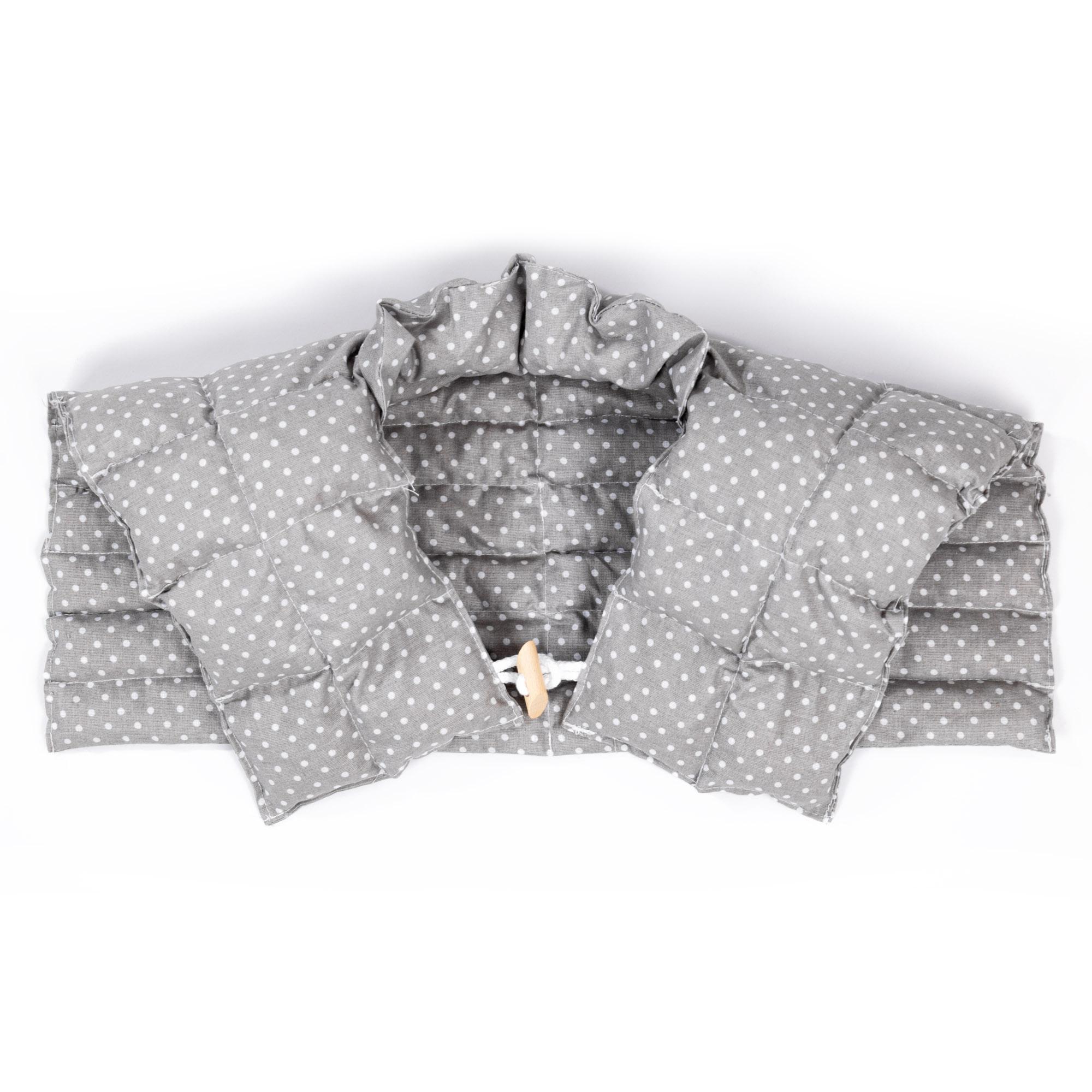 Kirschkernkissen Nackenhörnchen mit Rückenteil und Stehkragen Nackenwärmer Pünktchen KLEIN Grau