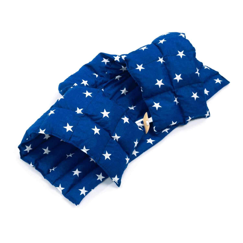 Kirschkernkissen Nackenhörnchen mit Rückenteil und Stehkragen Nackenwärmer Sternchen Blau