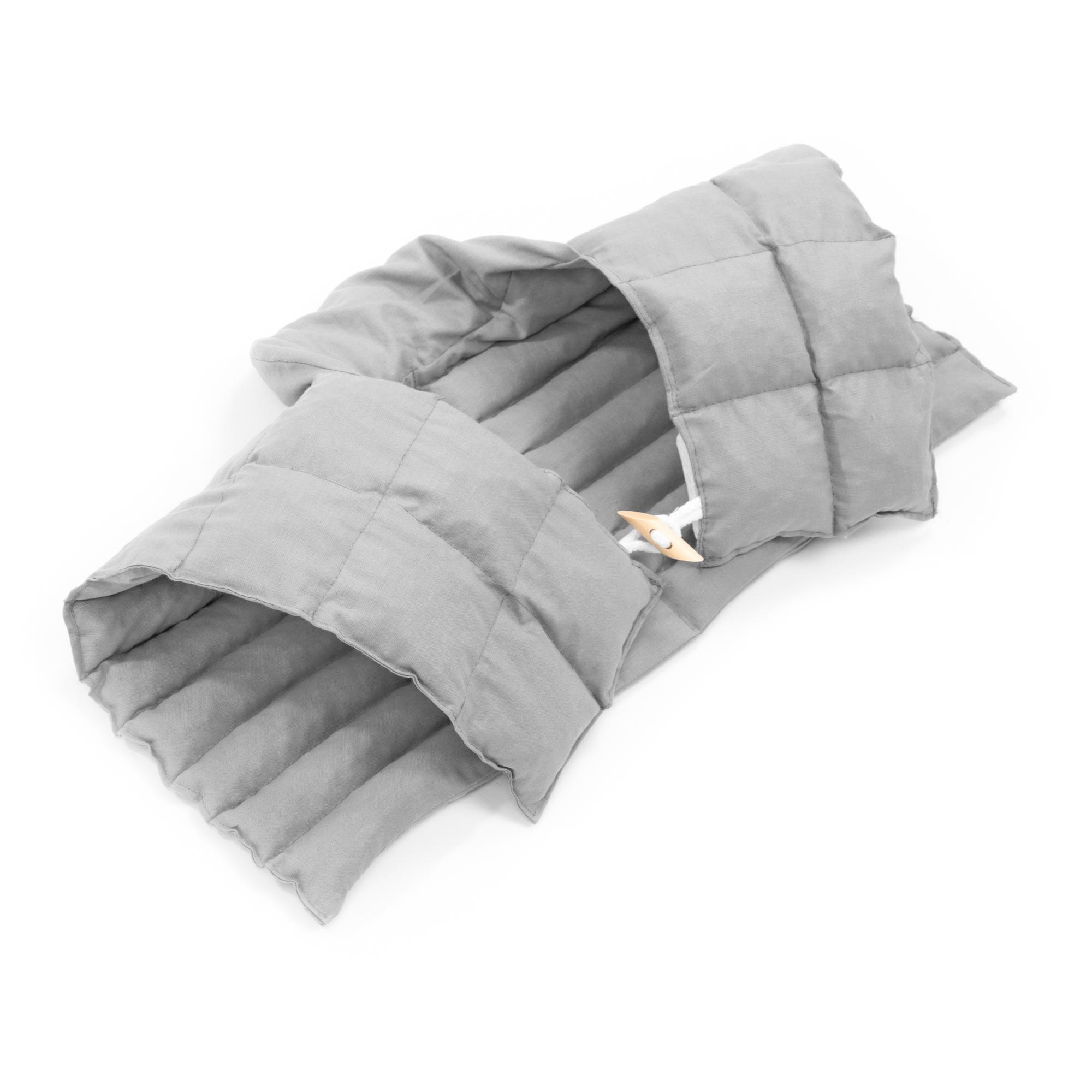 Kirschkernkissen Nackenhörnchen mit Rückenteil und Stehkragen Nackenwärmer Grau