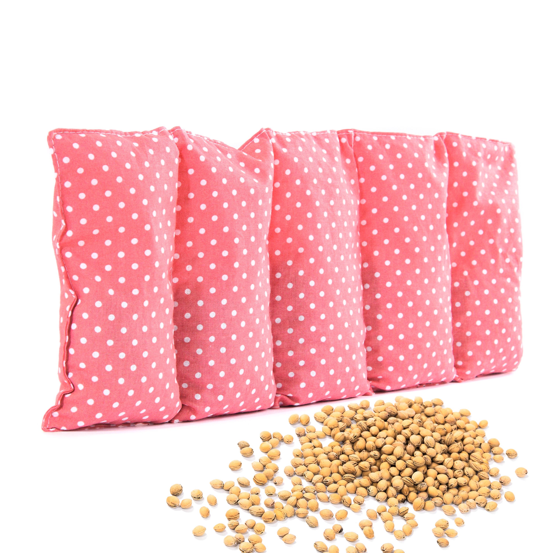 Kirschkernkissen 55 x 20cm Wärmekissen Wärmekompresse für Kinder Erwachsene Pünktchen Altrosa