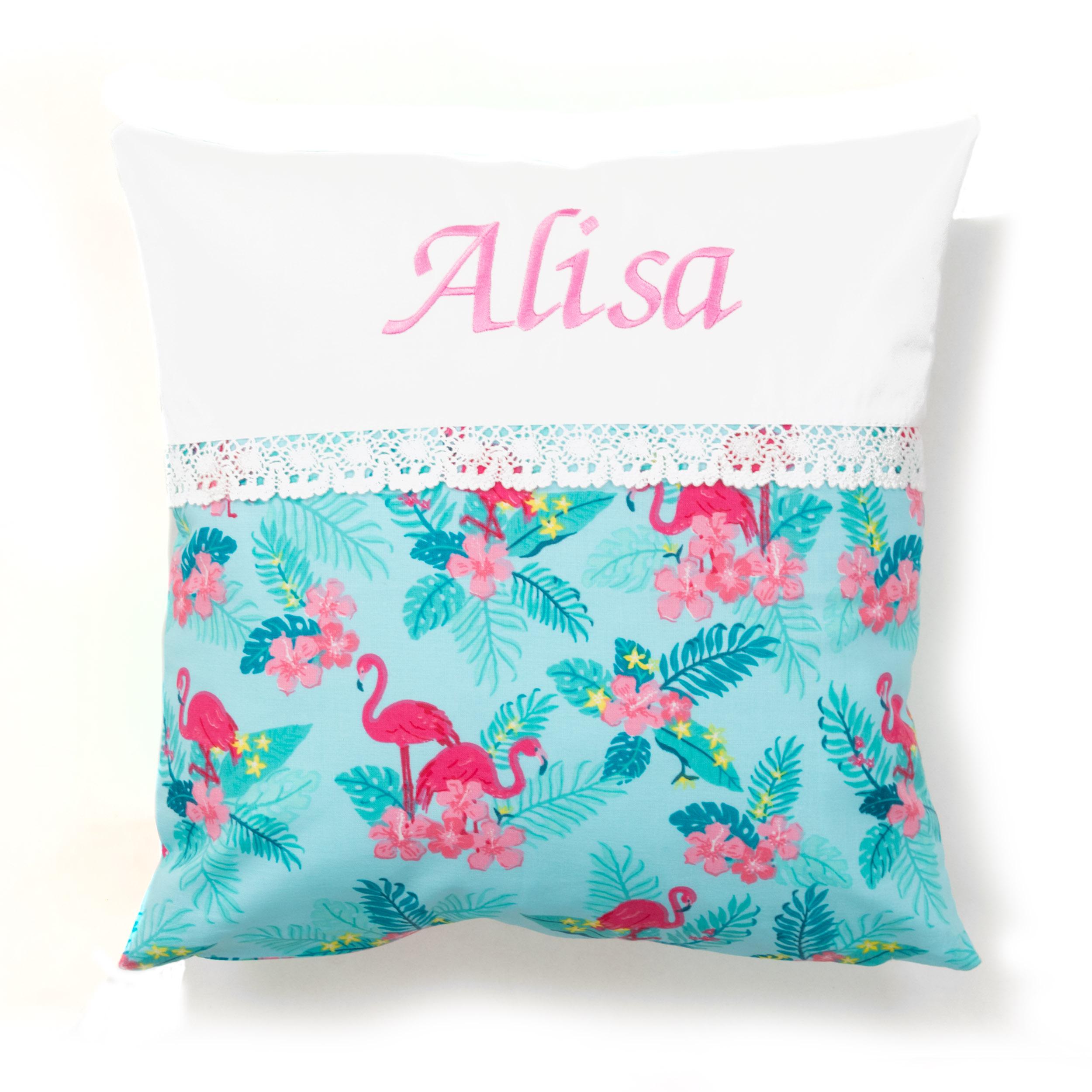 Kissen 40 x 40 cm mit Namen Datum Flamingos Mint