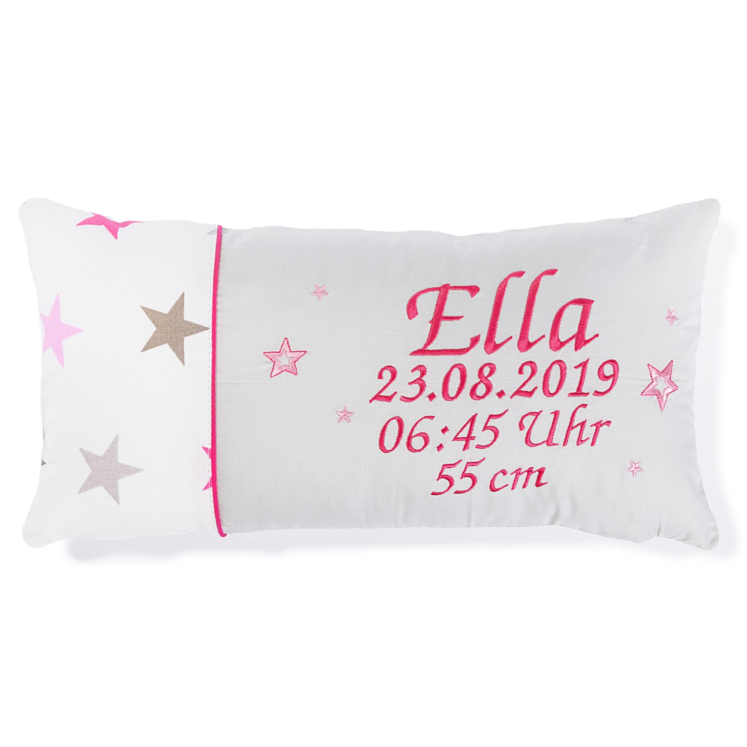 Kissen 40 x 20 cm mit Namen Datum Sternchen Groß Rosa Hellgrau