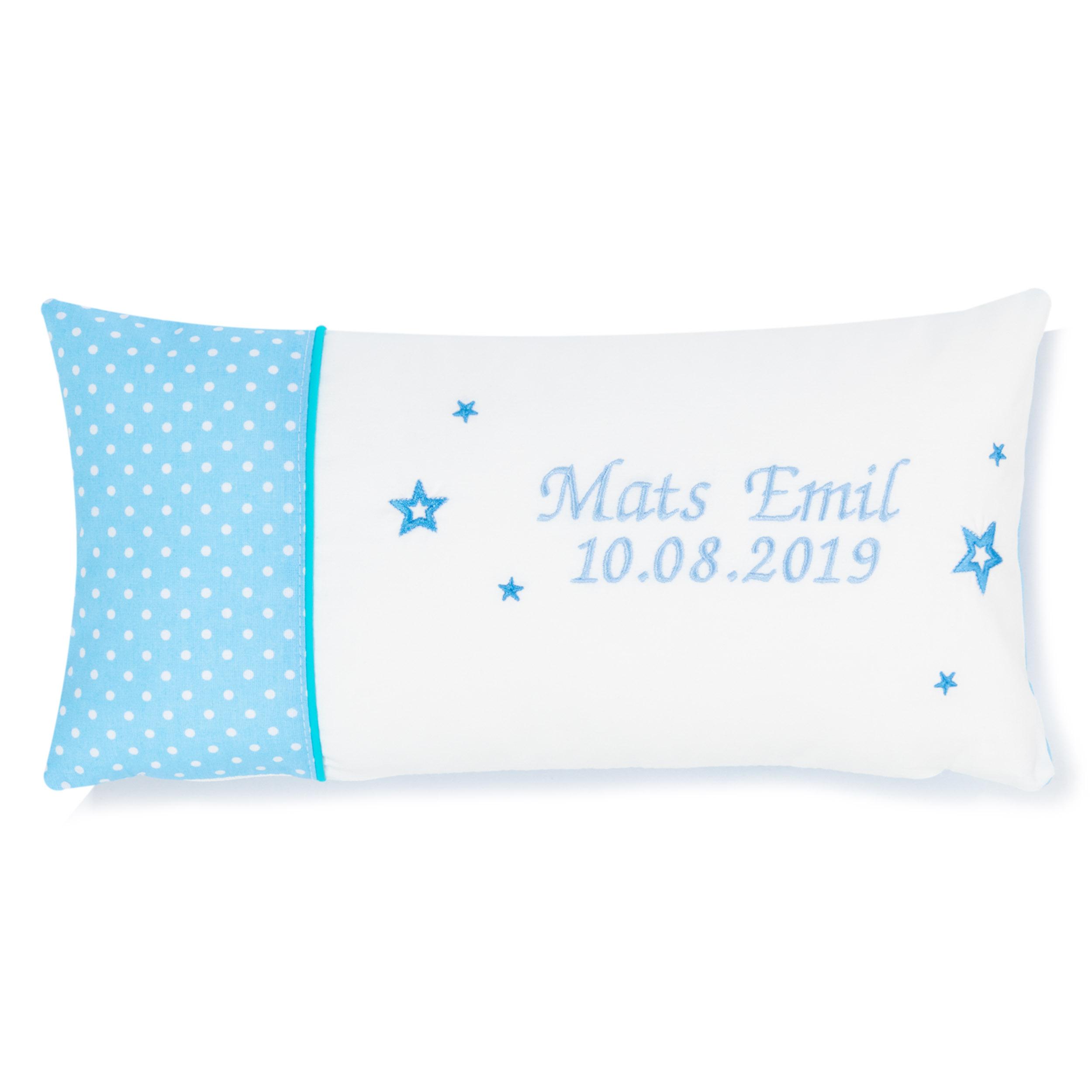Kissen 40 x 20 cm mit Namen Datum Pünktchen Hellblau Weiß