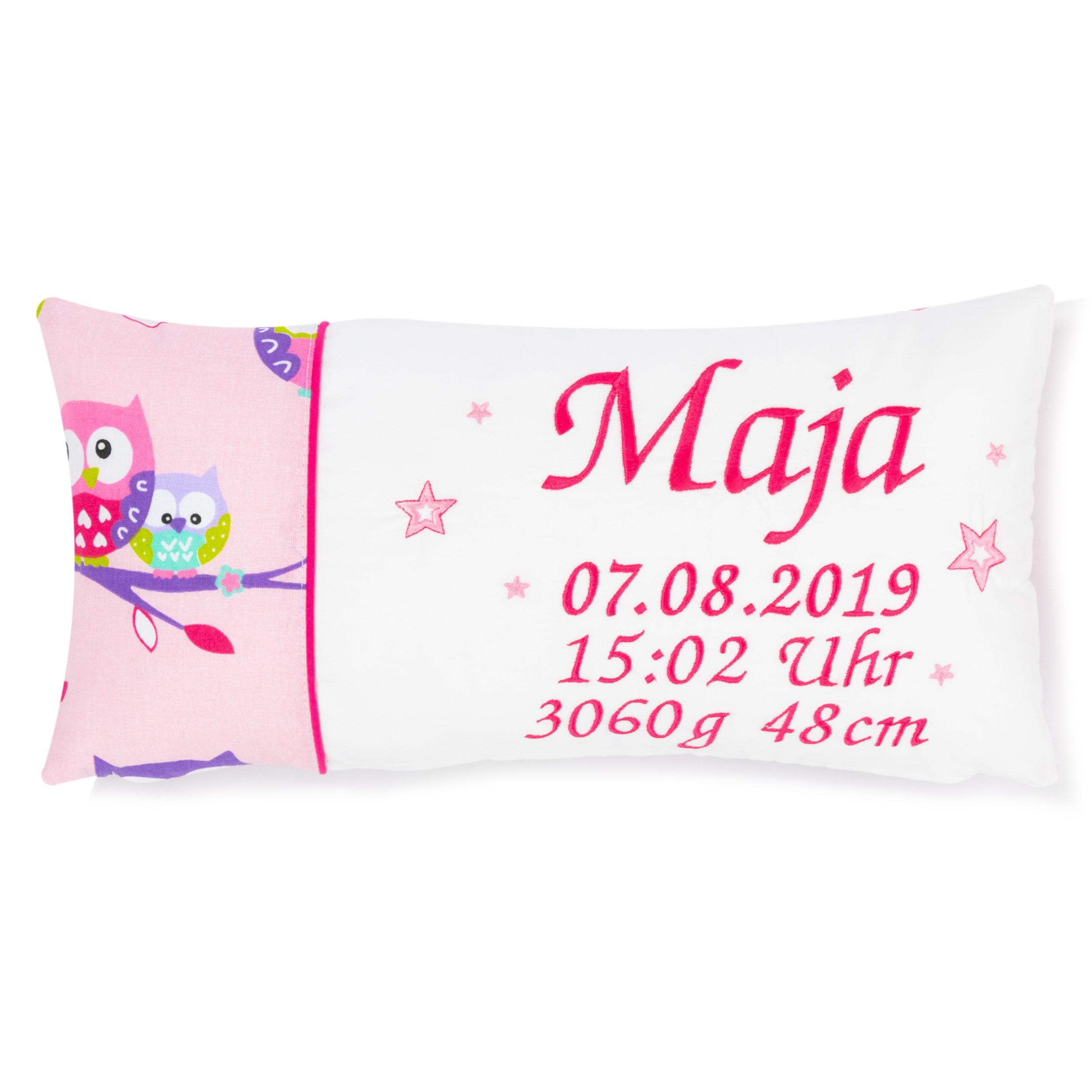 Kissen 40 x 20 cm mit Namen Datum Eule Rosa Weiß