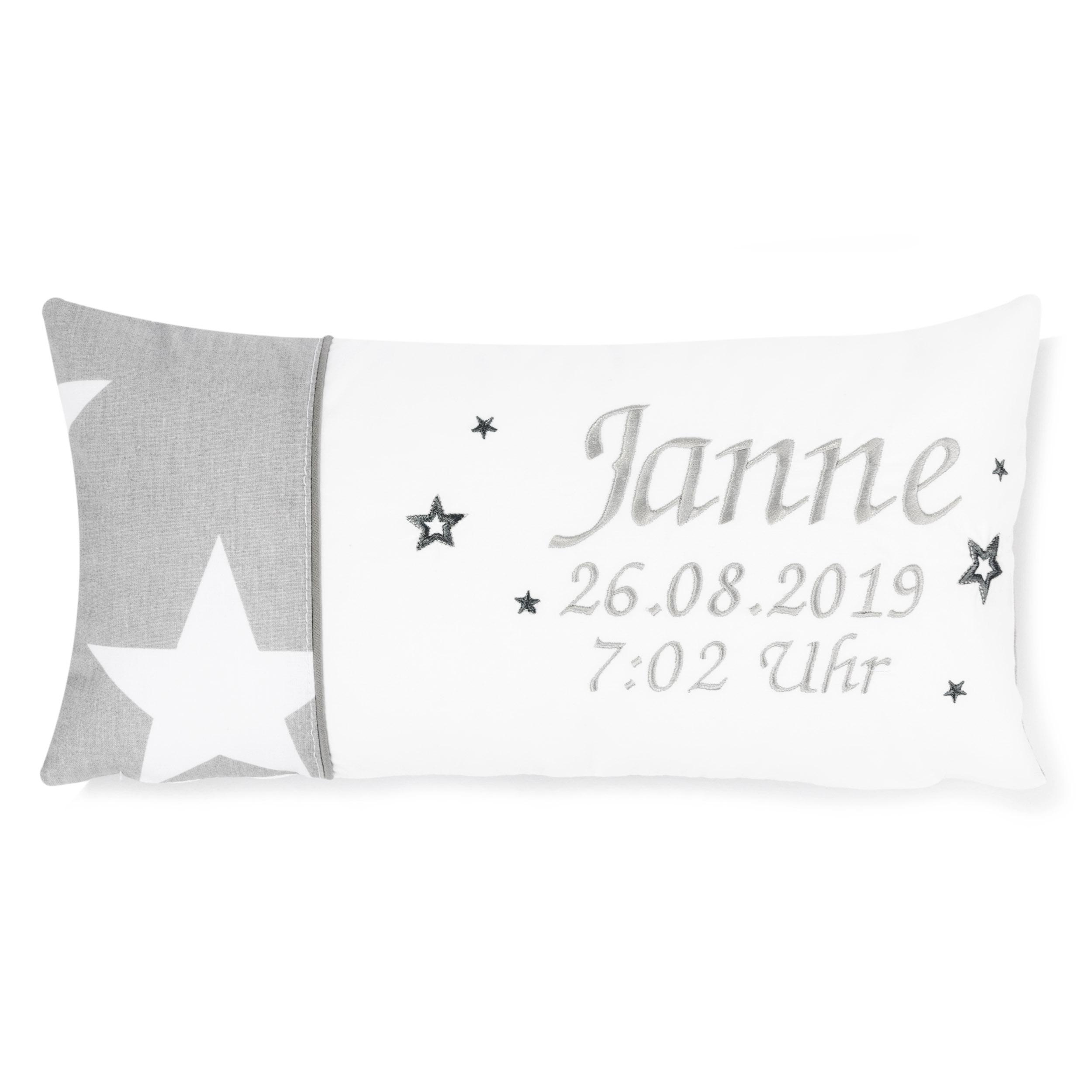 Kissen 40 x 20 cm mit Namen Datum Sternchen MEGA Groß Grau Weiß