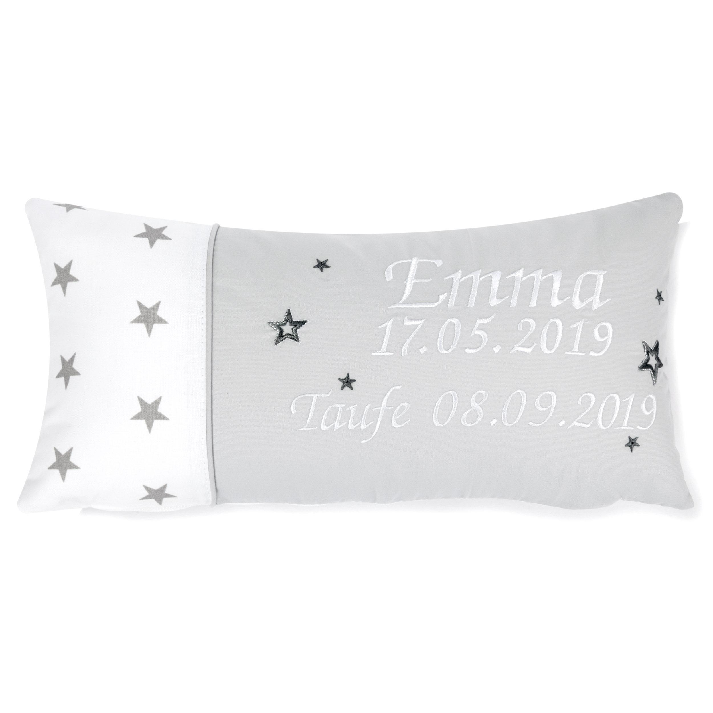 Kissen 40 x 20 cm mit Namen Datum Sternchen Weiß Hellgrau