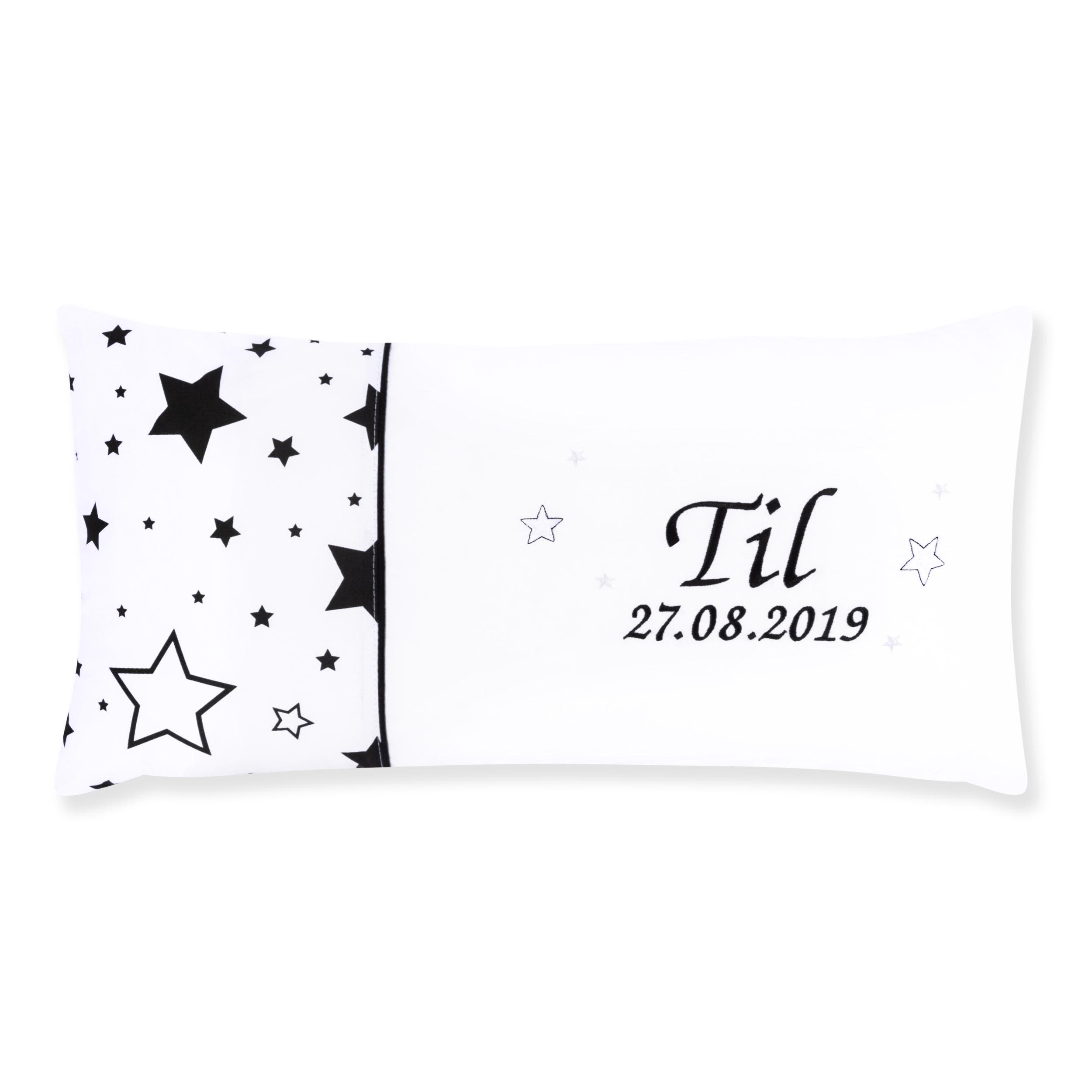 Kissen 60 x 30 cm mit Namen Datum Gute Nacht Schwarz Weiß