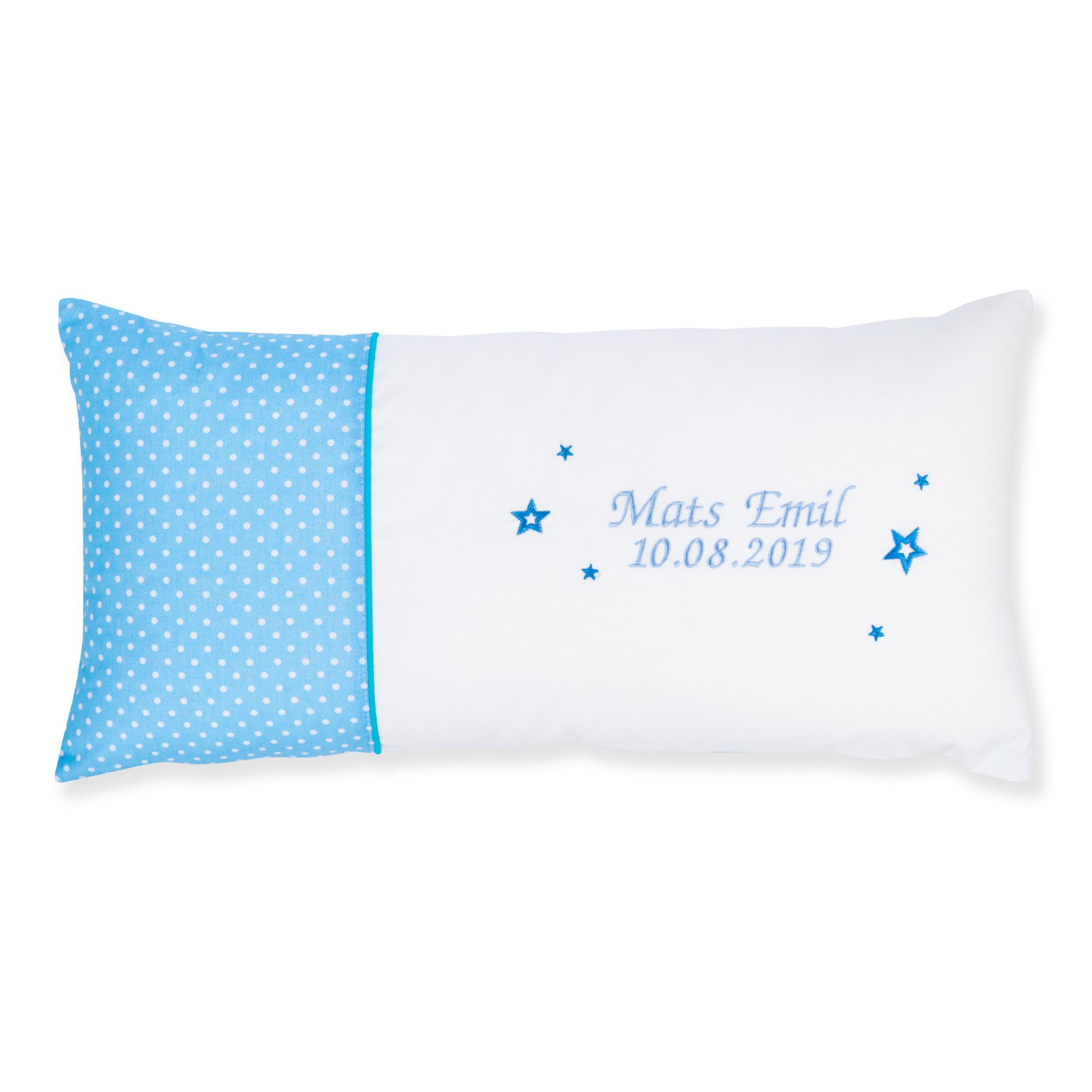 Kissen 60 x 30 cm mit Namen Datum Pünktchen Hellblau Weiß