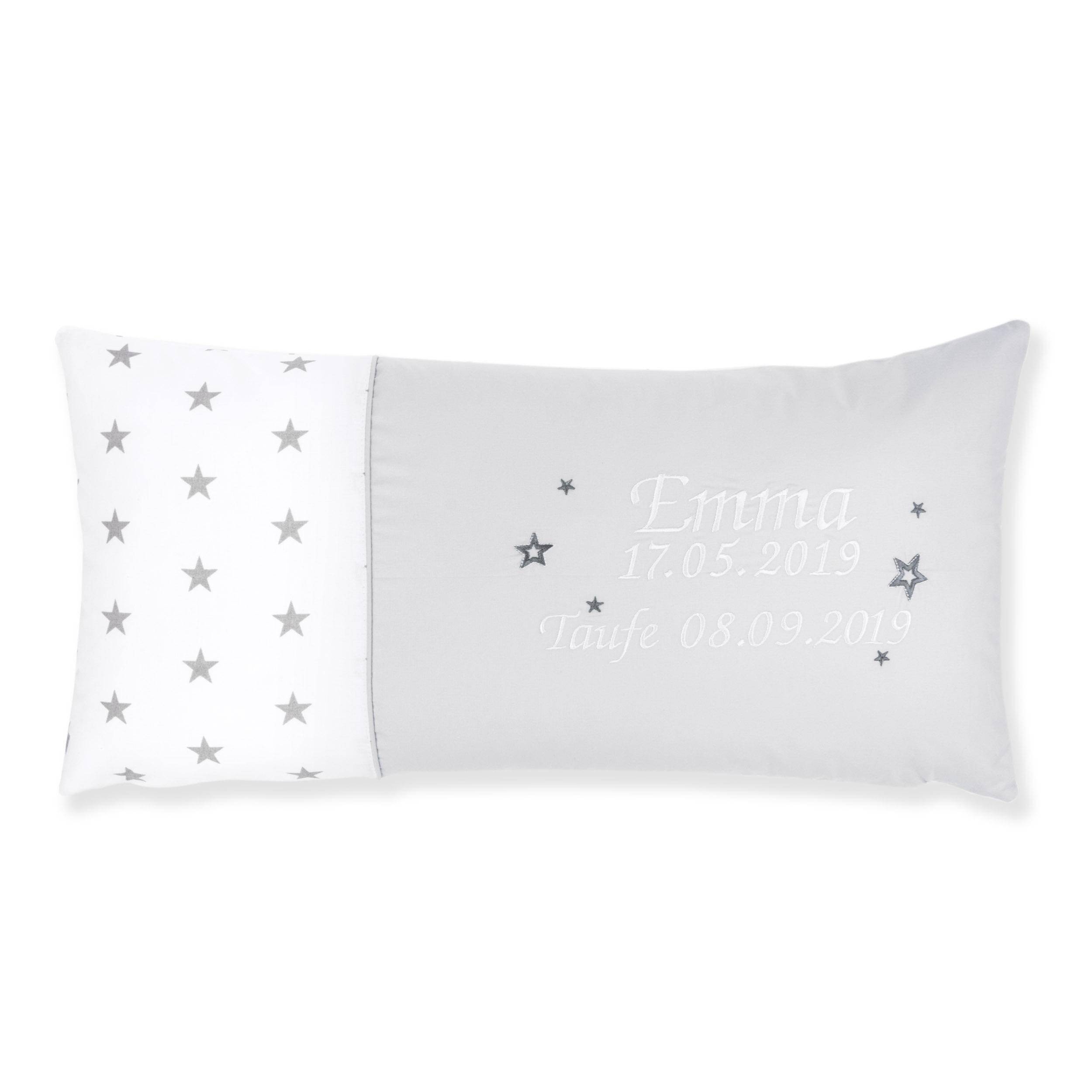 Kissen 60 x 30 cm mit Namen Datum Sternchen Weiß Hellgrau