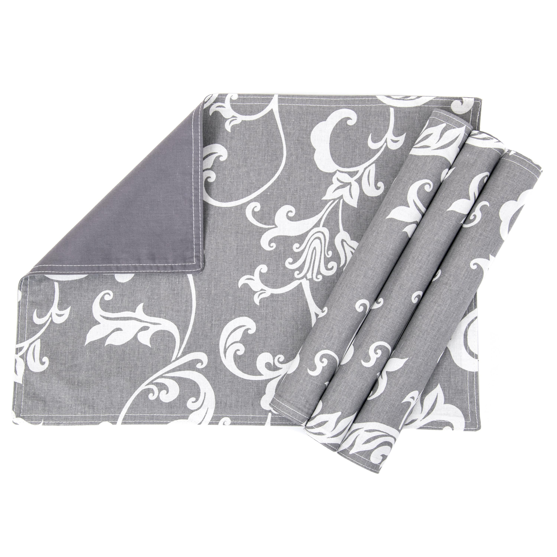 4er Set; Platzdeckchen, Tischunterlage waschbares Tisch-Set ca. 33 x 45 cm Retro Grau Anthrazit