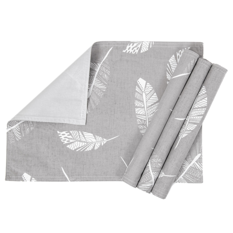 4er Set; Platzdeckchen, Tischunterlage waschbares Tisch-Set ca. 33 x 45 cm Feder Grau Hellgrau