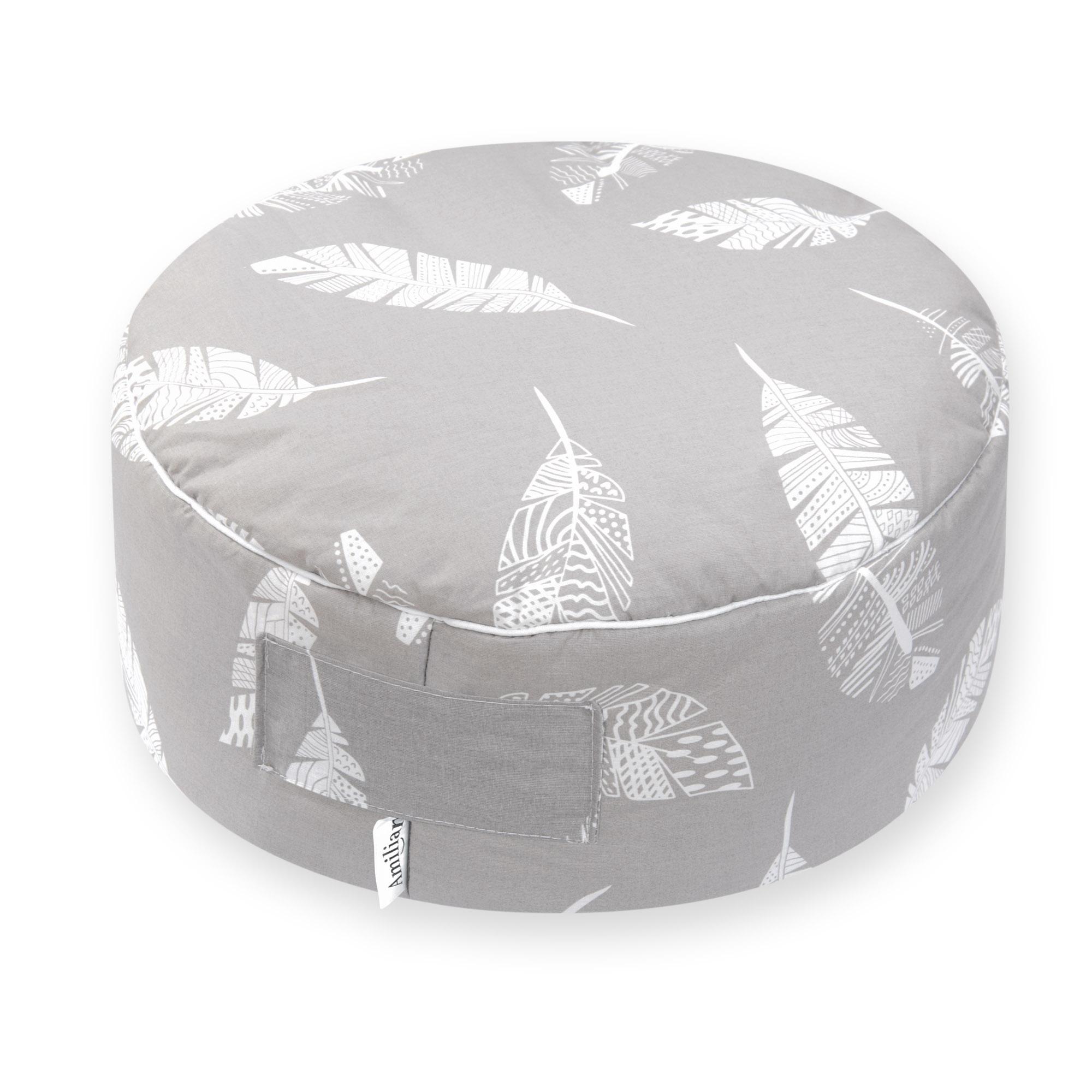 Sitzkissen Sitzpuff ca. Ø 40 cm 16  cm hoch für Kinder weiche Füllung Feder Grau