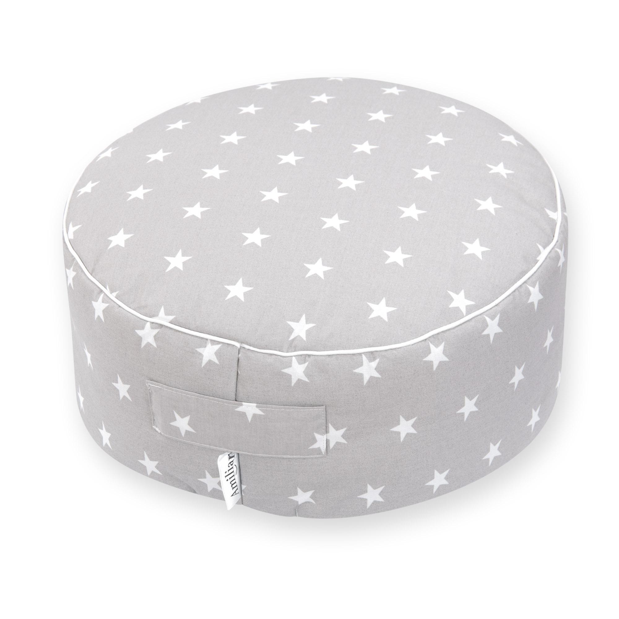Sitzkissen Sitzpuff ca. Ø 40 cm 16 cm hoch für Kinder weiche Füllung Sternchen Grau