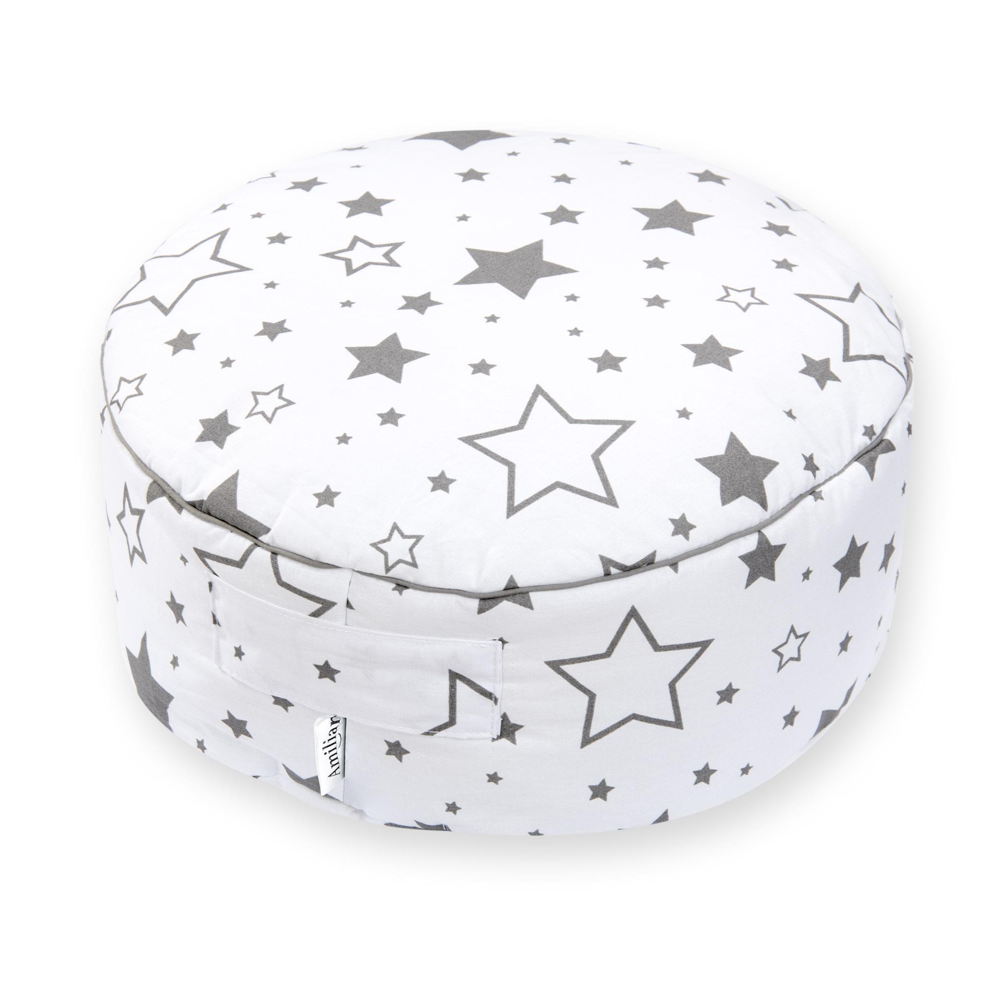 Sitzkissen Sitzpuff ca. Ø 40 cm 16 cm hoch für Kinder weiche Füllung Gute Nacht Grau
