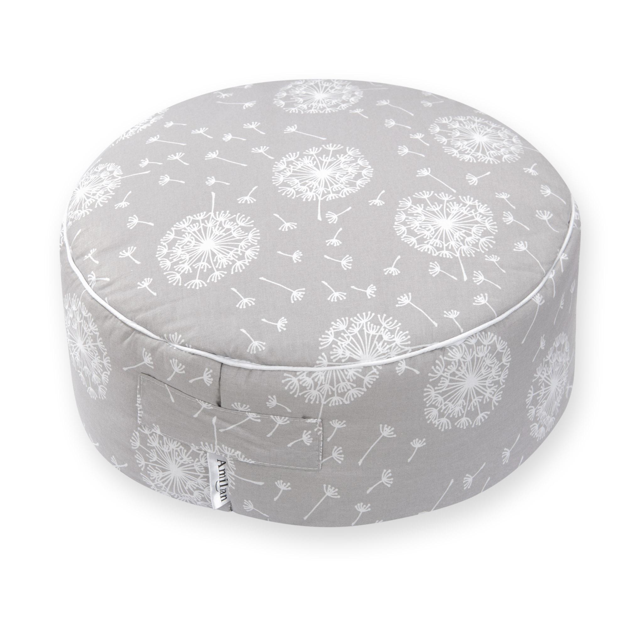 Sitzkissen Sitzpuff ca. Ø 40 cm 16 cm hoch für Kinder weiche Füllung Pusteblume Grau