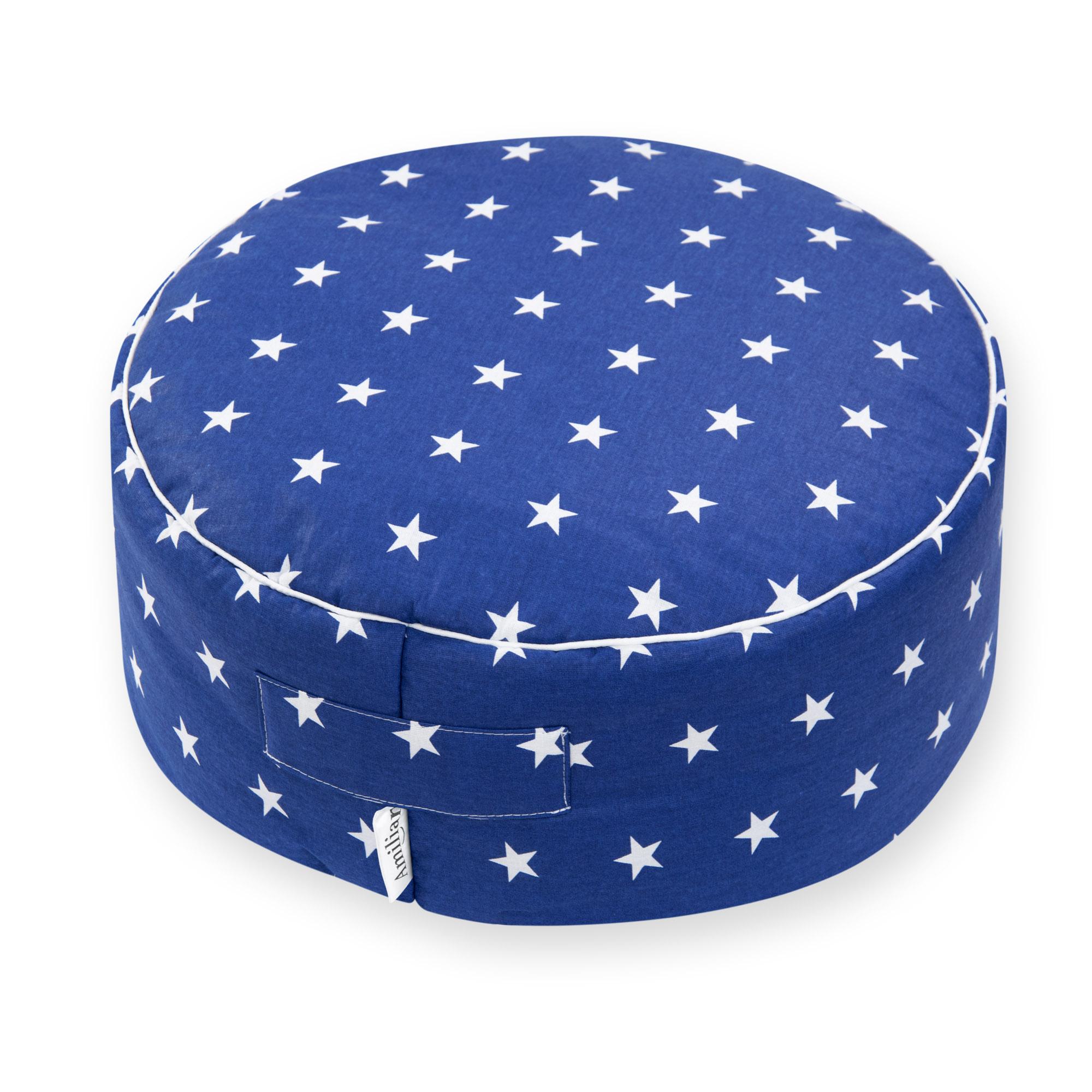 Sitzkissen Sitzpuff ca. Ø 40 cm 16 cm hoch für Kinder weiche Füllung Sternchen Blau