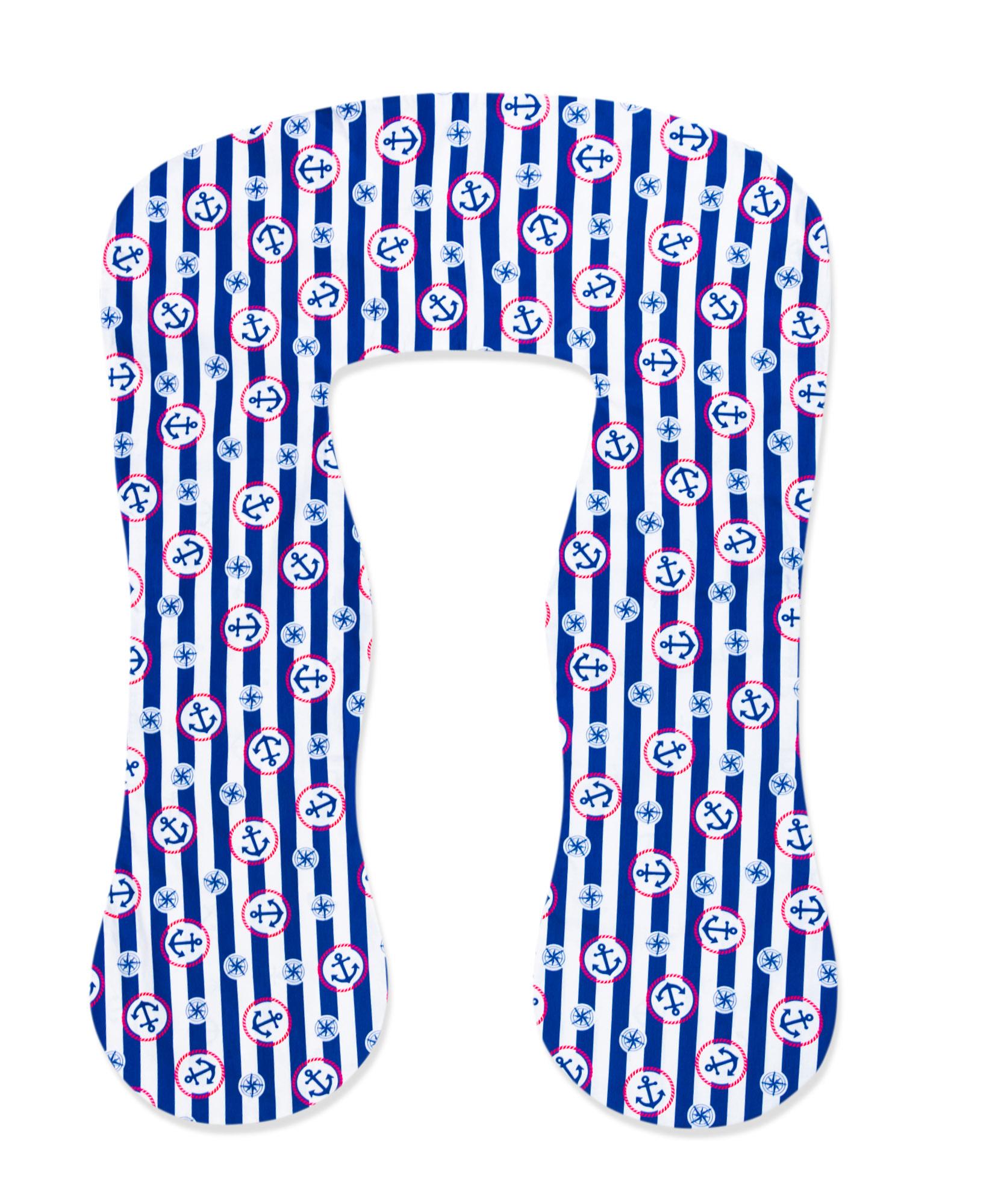 Bezug für Stillkissen 330cm Streifen Blau mit Anker TYP A