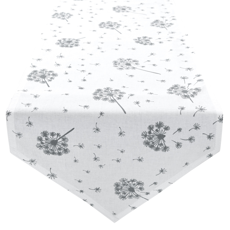 Tischläufer Tischdecke 100% Baumwolle zweiseitig ca. 210 x 33 cm Pusteblume Weiß Anthrazit