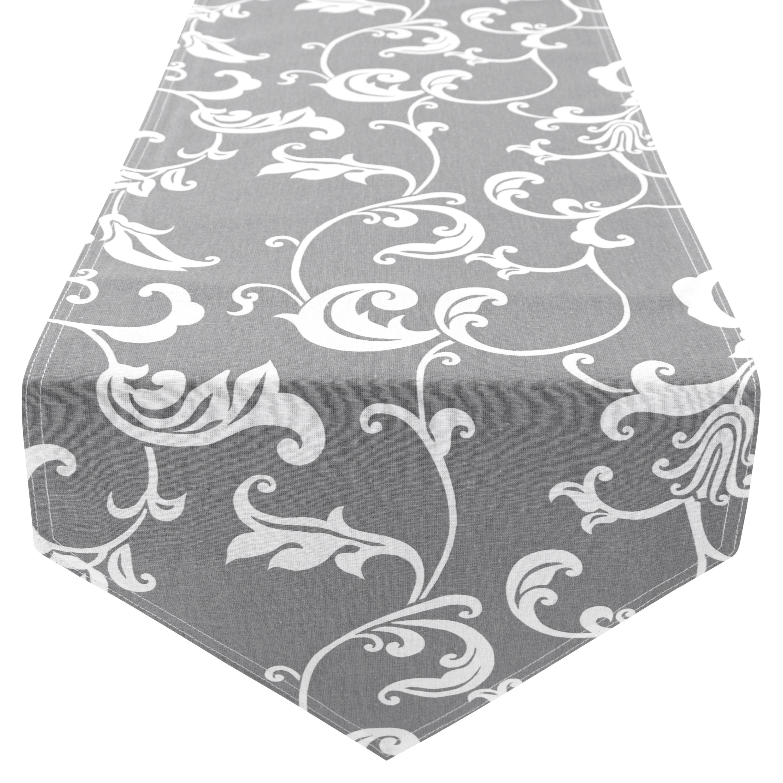 Tischläufer Tischdecke 100% Baumwolle zweiseitig ca. 210 x 33 cm Retro Grau Anthrazit