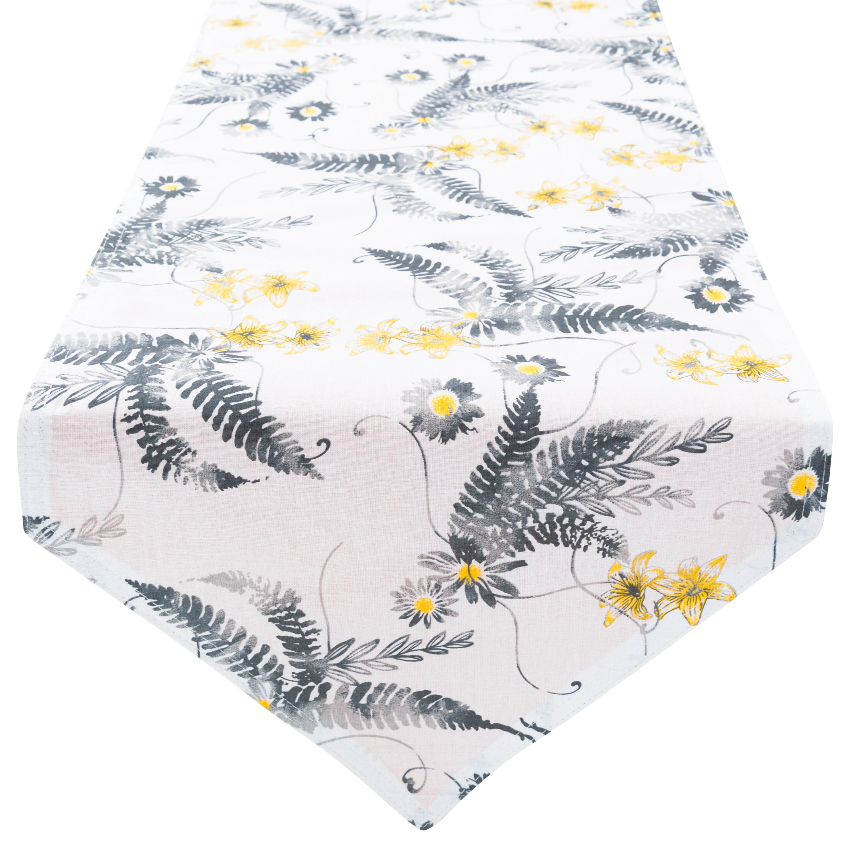 Tischläufer Tischdecke 100% Baumwolle zweiseitig ca. 210 x 33 cm Farnblühte Gelb Senfgelb