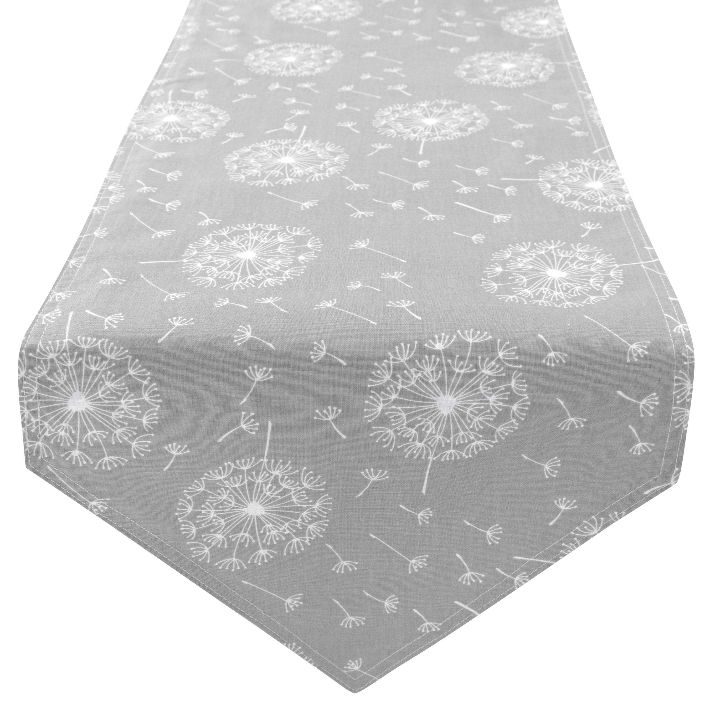 Tischläufer Tischdecke 100% Baumwolle zweiseitig ca. 210 x 33 cm Pusteblume Grau Hellgrau