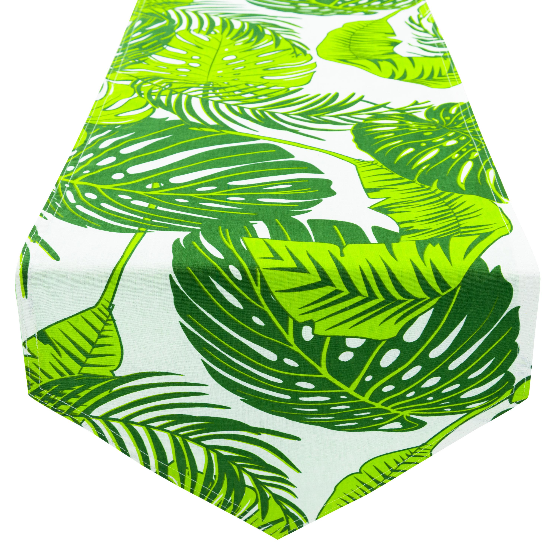 Tischläufer Tischdecke 100% Baumwolle zweiseitig ca. 210 x 33 cm Blätter Grün Grün