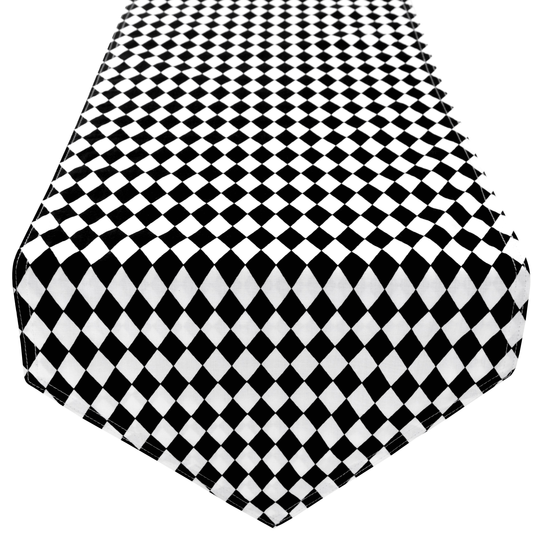Tischläufer Tischdecke 100% Baumwolle zweiseitig ca. 210 x 33 cm Schachbrett Schwarz