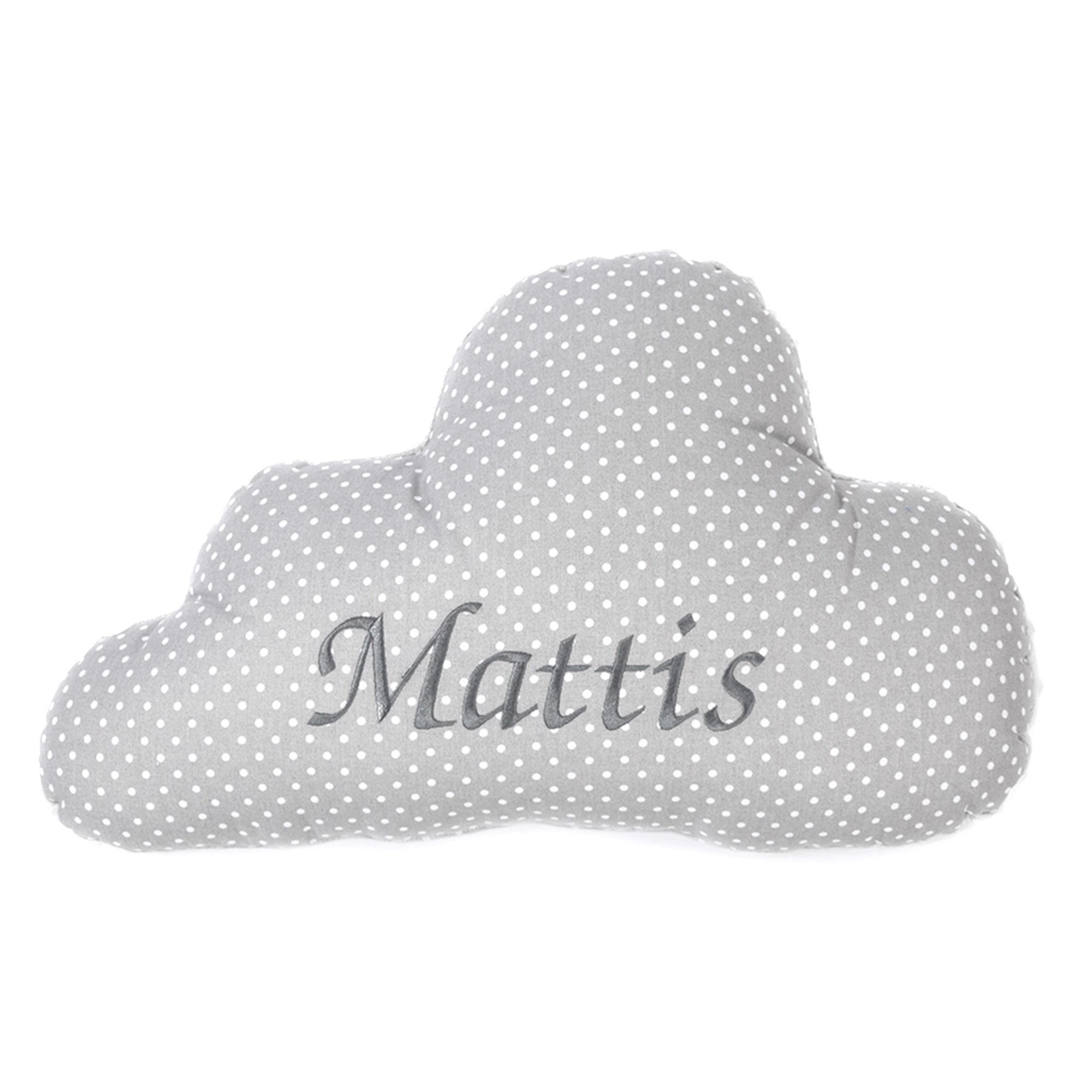 Wolken Kissen mit Namen und Datum Kuschlig Flauschig Pünktchen KLEIN Grau