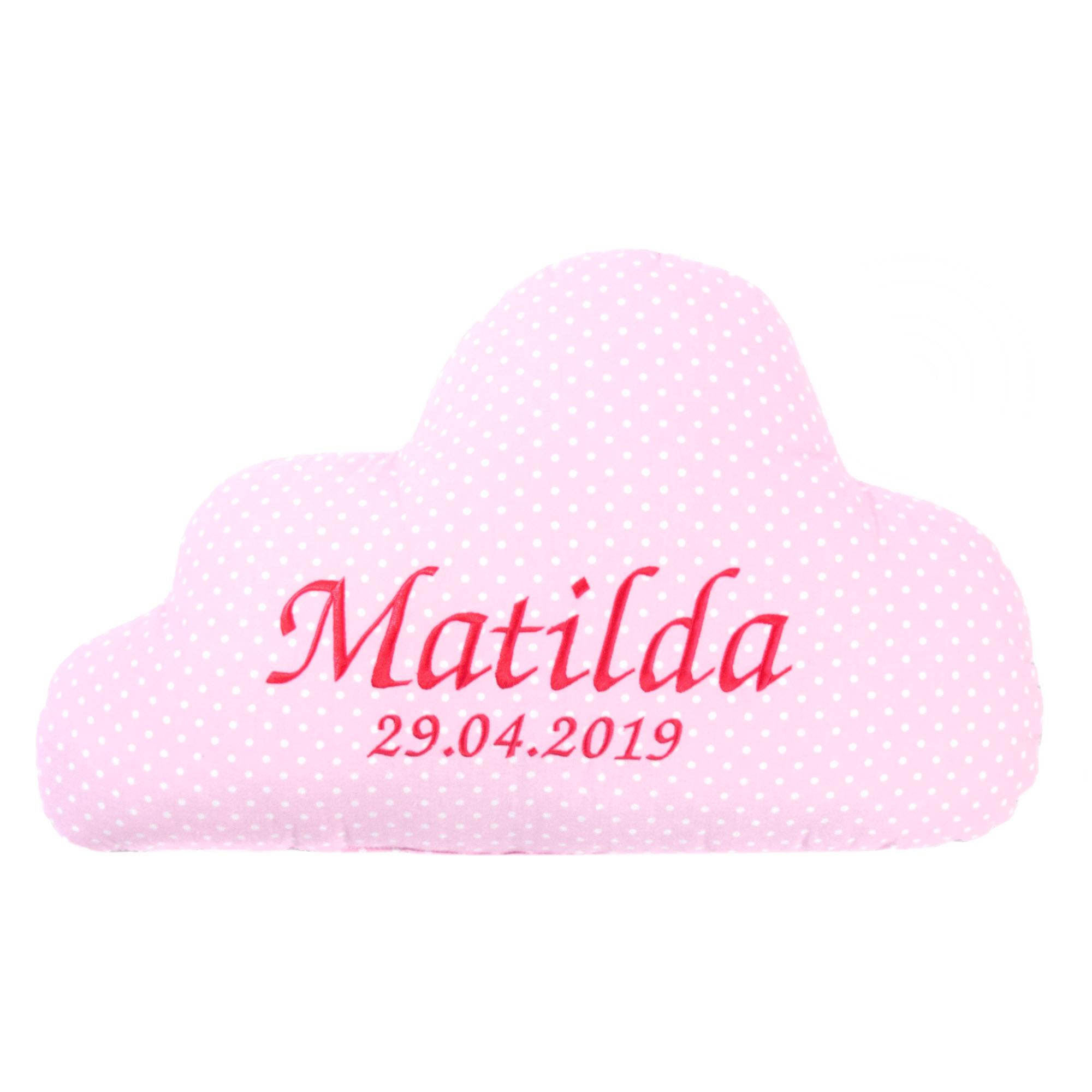 Wolken Kissen mit Namen und Datum Kuschlig Flauschig Pünktchen Puderrosa