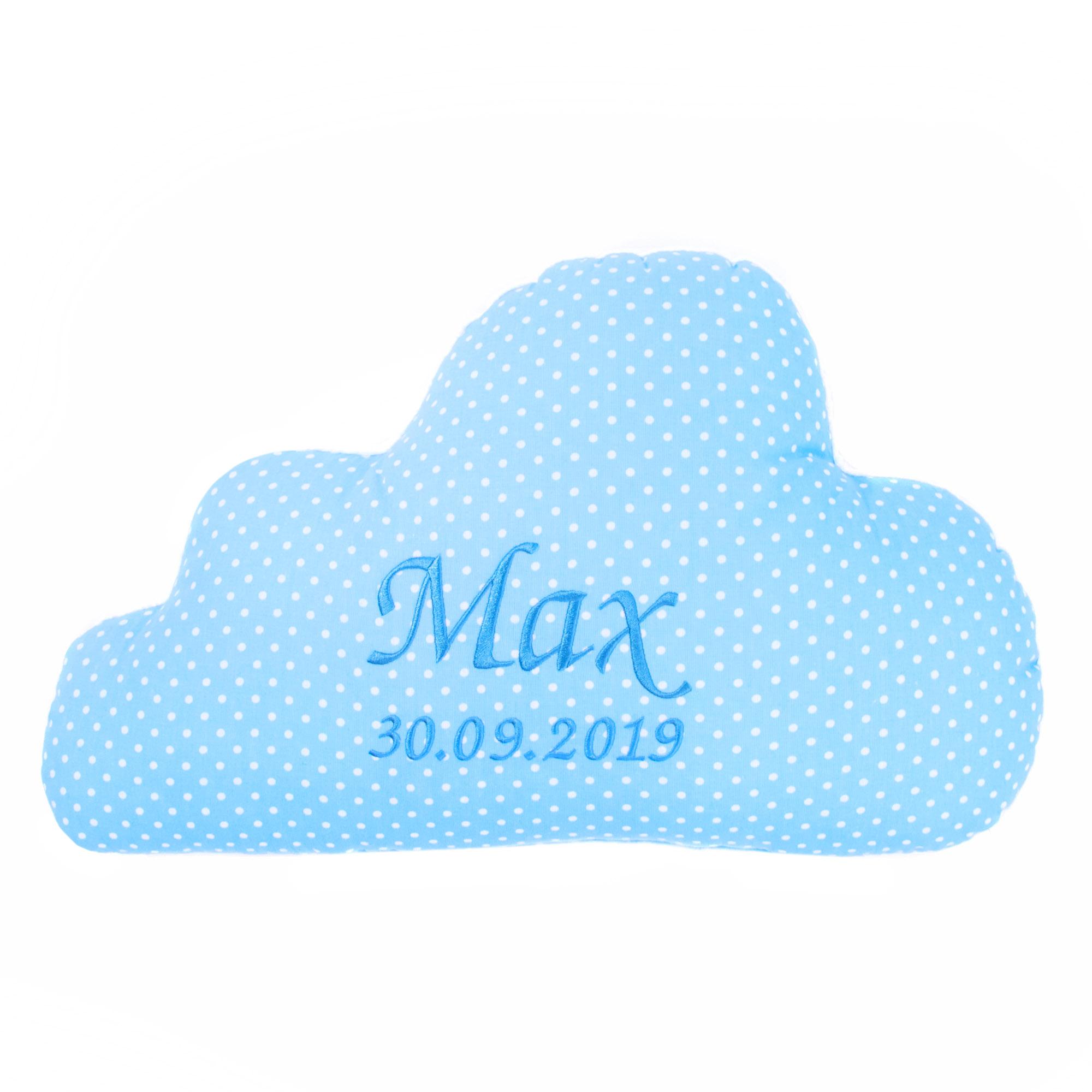 Wolken Kissen mit Namen und Datum Kuschlig Flauschig Pünktchen KLEIN Hellblau
